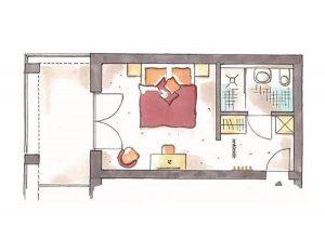 Grundriss Doppelzimmer Alpinstyle Hotel Erlebach