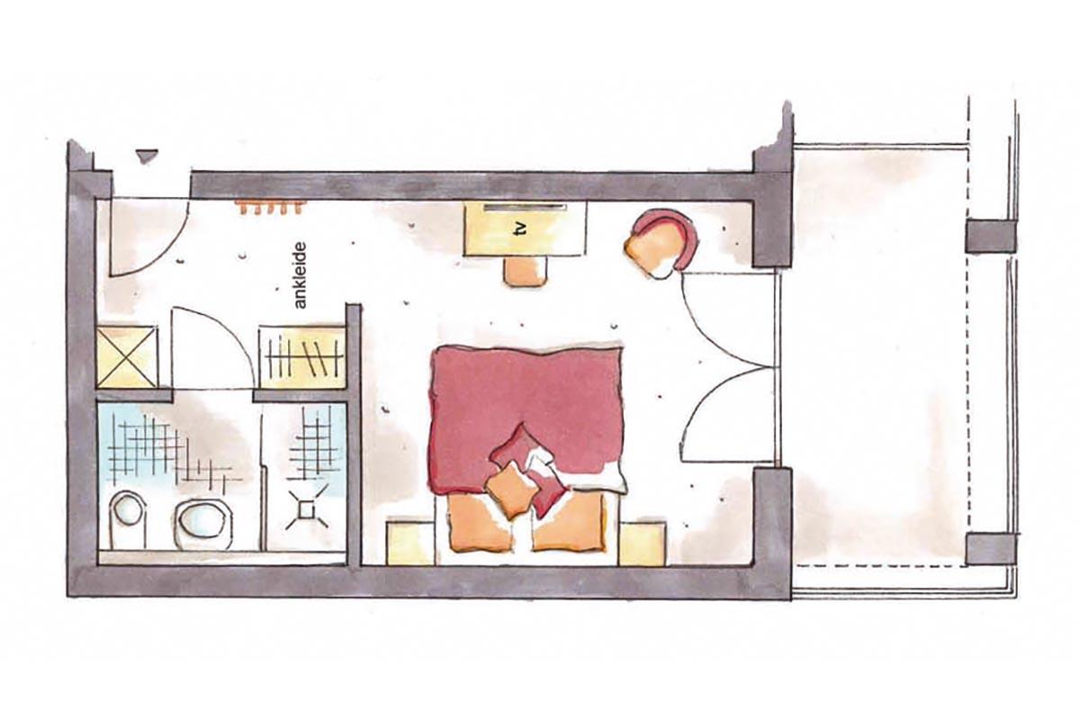 Grundriss Doppelzimmer Alpinstyle im Hotel Erlebach