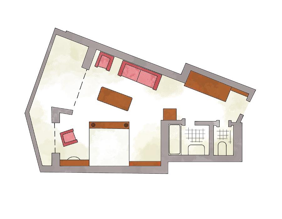 Grundriss Doppelzimmer Standard Hotel Erlebach