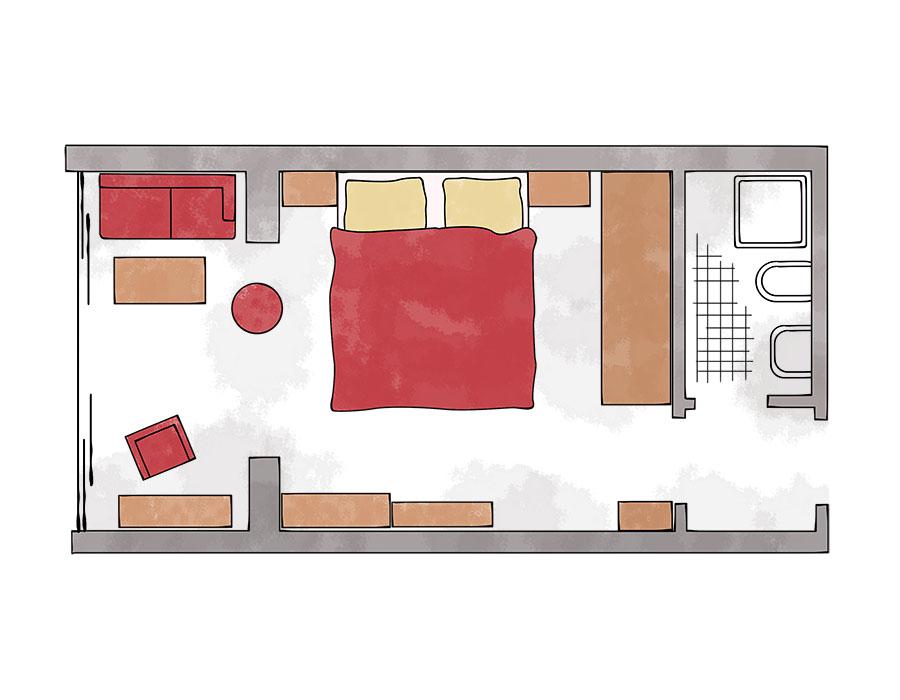 Grundriss Doppelzimmer mit Wintergarten Hotel Kleinwalsertal