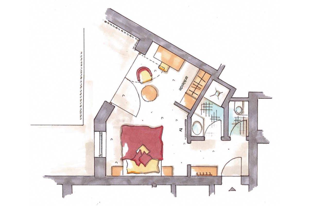 Grundriss Einbettzimmer im Hotel Erlebach