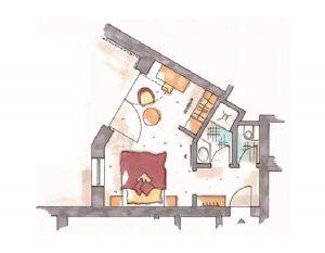 Grundriss Einzelzimmer Alpinstyle mit Balkon Hotel Erlebach