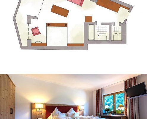 Doppelzimmer Romantik Wellnesshotel Riezlern