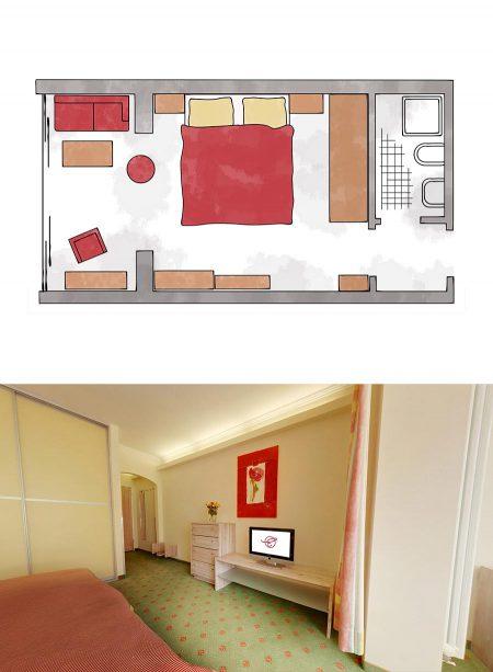 Doppelzimmer mit Wintergarten im Wellnesshotel
