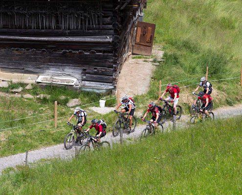 Gruppe bei geführter Mountainbike-Tour