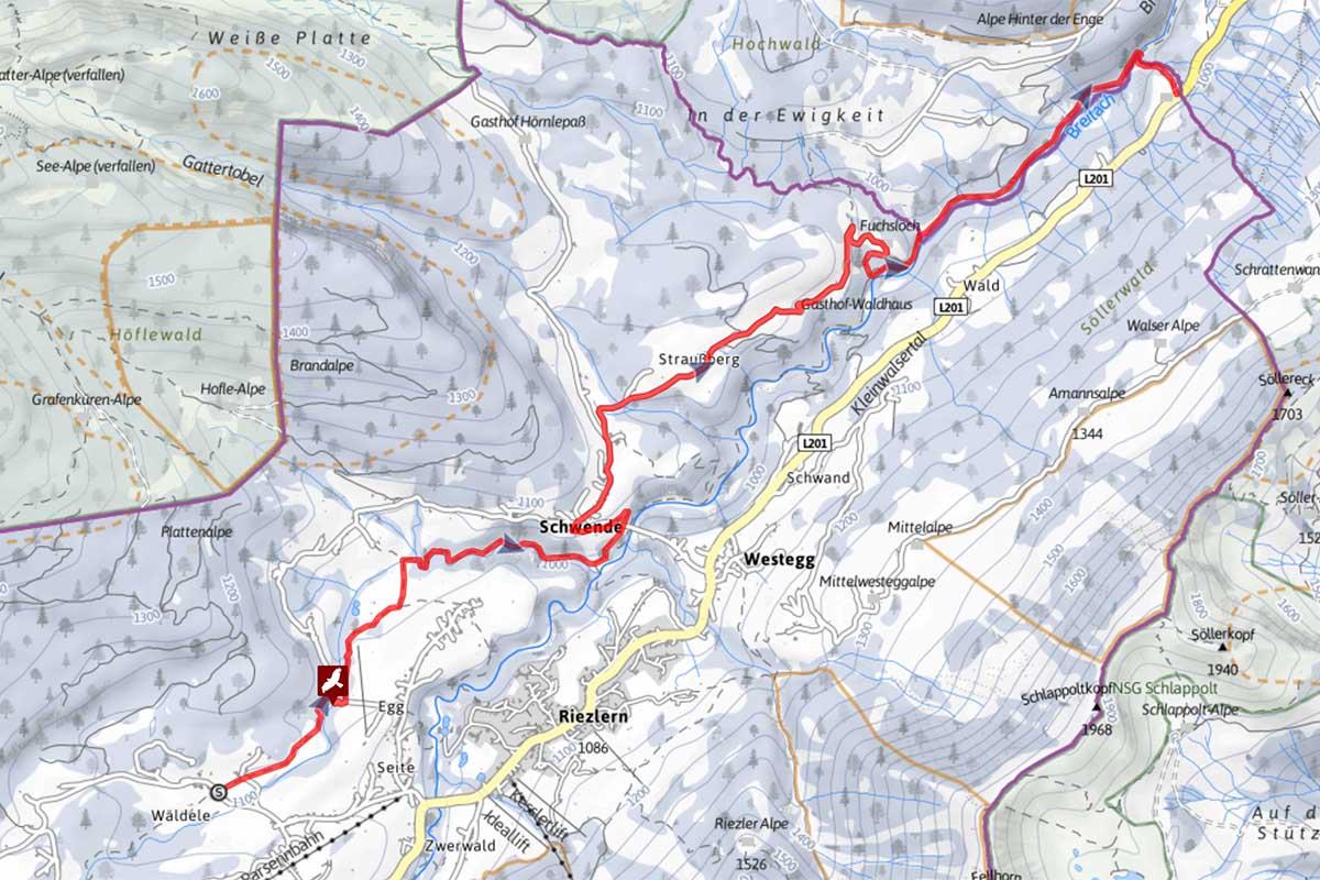 Winterwanderung Schwarzwasserbach im Kleinwalsertal