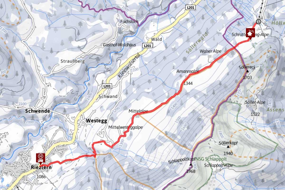 Winterwanderung über die Ammansalpe nach Riezlern