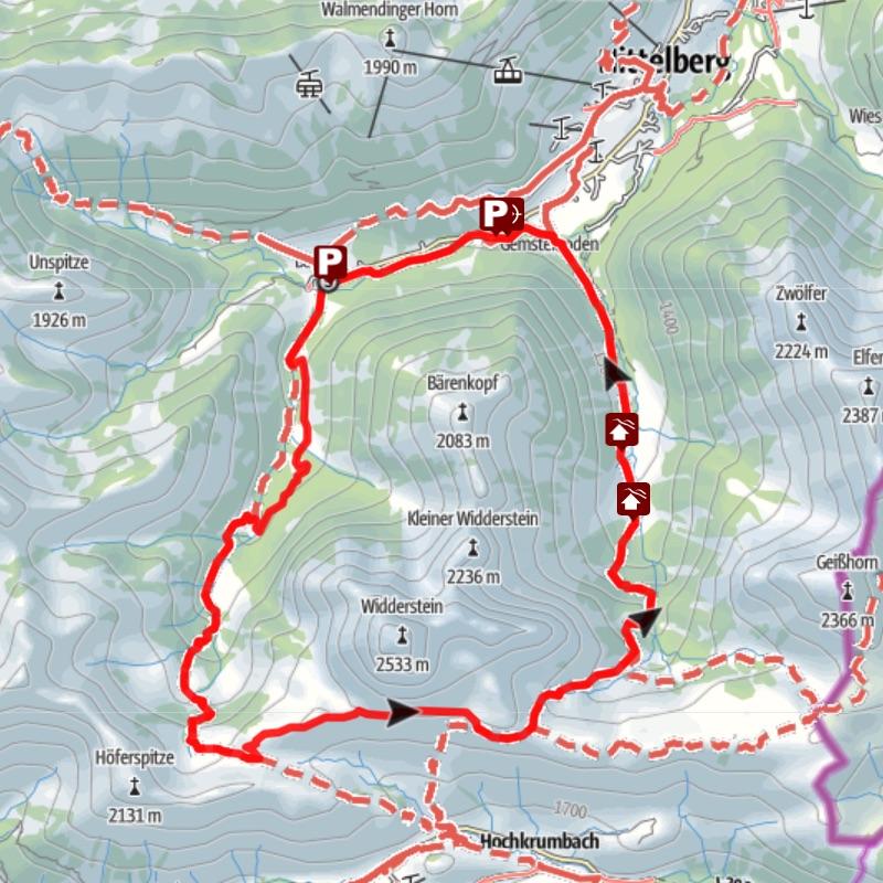Karte Bergtour Widerstein