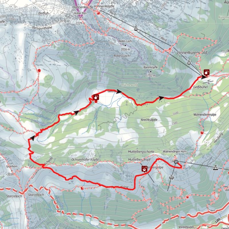 Karte Bergwanderung Schwarzwasserbach